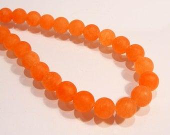 Matte Orange Jade Round Smooth Gemstone Beads.....8mm......8 Beads