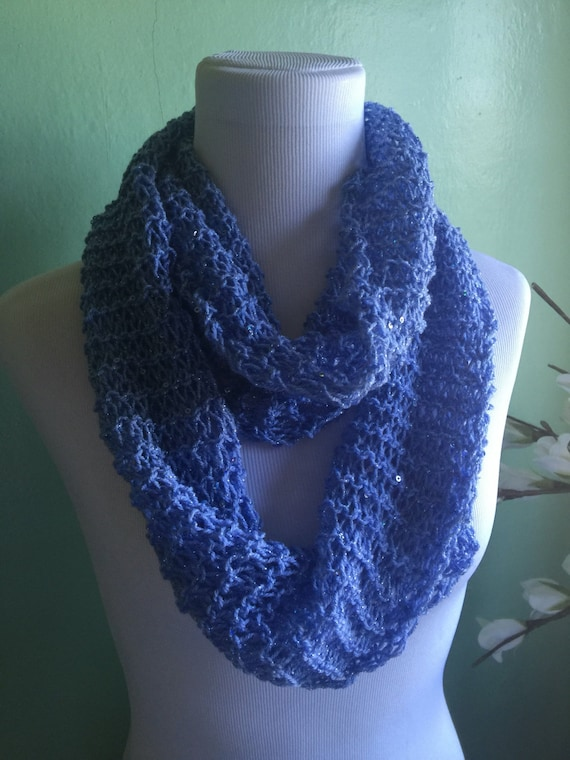 Hand Knit Lightweight Sky Blue Sparkle and Shimmer Infinity Circular Scarf