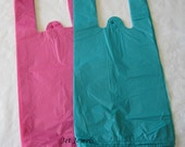 Plastic Bags, T Shirt Bags, Pink Bags, Pink T Shirt Bags, Plastic Tee Shirt Bags, Hot Pink Bags, Teal Blue Bags, Shopping Bags 7x16 Pack 100