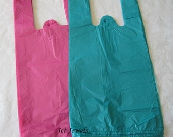 50 Plastic Bags, T Shirt Bags, Pink Bags, Pink Plastic Bags, Plastic Tee Shirt Bags, Hot Pink Bags, Blue Bags, Shopping Bags 7x16