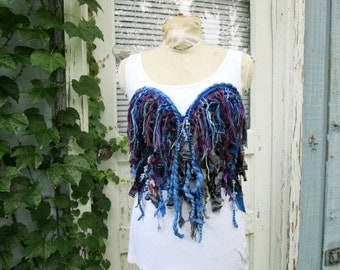 Medium Sapphire Blue OOAK Wearable Fringe Fiber Art Bustier Corset// Raw Tattered// Upcycled// emmevielle