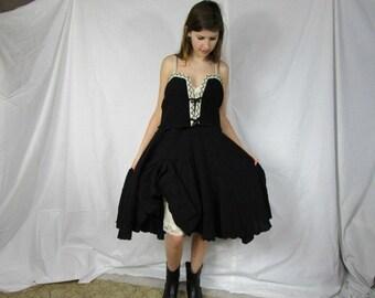 Medium Upcycled Bohemian Slip Dress// Reconstructed// Black White// emmevielle