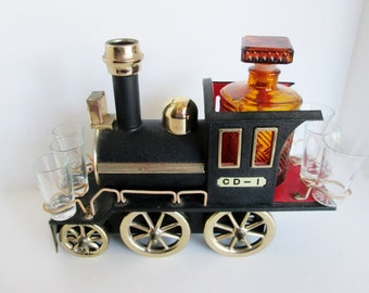 Vintage Train Engine, Liquor Decanter Set, Whiskey Shot Glasses, Musical Collectible Locomotive Mini Bar Fun Bar Set CD 1 Amber Glass Bottle