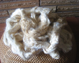 Naturally Dyed Tussah Silk 1-ounce,  Variegate Silk Top, Silk Roving Hand Dyed, Silk Soft with Patina