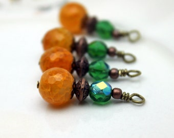 Orange Agate and Green AB Czech Vintage Style Bead Dangle Charm Drop Set, Earring Dangle, Jewelry Making, Pendant