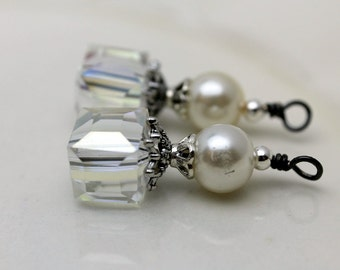 Clear AB Square Cube Cut Crystal and Pearl, Pendant Charm Earring Dangle Drop Beaded Set, Bride Earrings, Wedding Jewelry