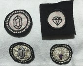 Sew On Handmade Gem Patches Pack - set of 4 Cute Denim Flare, Stitch On Hand Embroidered gem patches, Real Amethyst polished gem bead patch