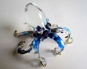 Purple Blue Octopus Gold Trim Hand-Blown Hand-Painted Glass Animal Figurine Statue Collectible Gifts Octopus glass figurine Ocean Marine