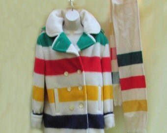 Hudson bay 4 point blanket coat jacket with hood and matching scarf size 12