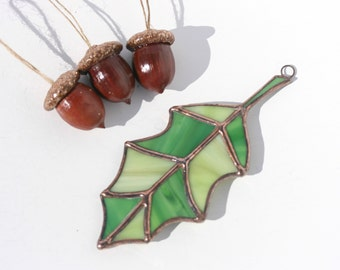 Stained glass oak leaf sun catcher with three natural real acorns with glitter acorn caps