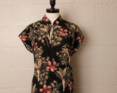 RESERVED Vintage 1980's Hilo Hattie Hawaiian Floral Chinese Cotton Dress L