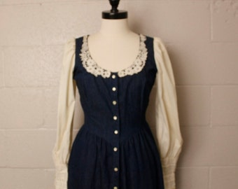 Vintage 1970's 1980's Prairie Gunne Sax Denim Jean Dress Small