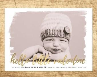 valentine birth announcement, modern baby announcement, hello baby announcement, Double sided printable baby announcement card