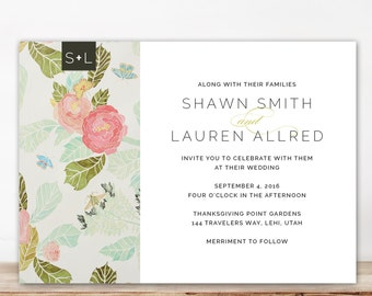 modern floral wedding invitation, unique custom wedding invitation, watercolor floral printable wedding invitation, with rsvp postcard