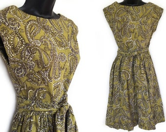 60s 70s Green with Black and White Geometric Paisley Print Wrap Dress Sleeveless M