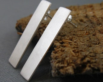 ON SALE - Long rectangular sterling silver post earring, brushed sterling silver earring with post closure
