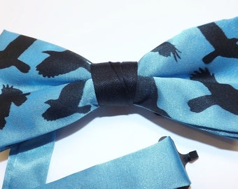 Bow tie, Mens tie, adjustable collar band, Original RokGear design, hand print, silk screen tie, Blue Crow #RokGear