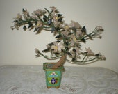 "Jade Tree Asian Chinese Blossom Sculpture Quarts Stone Enamel cloisonne Vase 14"" Antique Vintage"