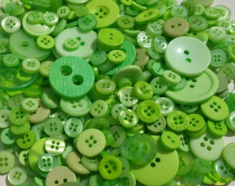 Green Buttons - Bulk Button - Bright Green Sewing Crafting - 120 Buttons - Green Flash