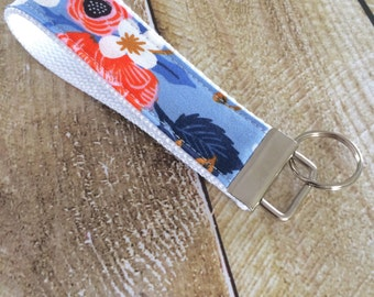 Wristlet Key Fob - Birch in Periwinkle Keychain - Rifle Paper Co Key Chain - Key Ring - Accessory - Gift for Her - Gift Under 10