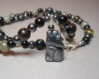 Black Night Wolf - Hematite Blue Tigers Eye Labradorite and Black Onyx Gemstone Wolf Totem Spirit Animal Necklace