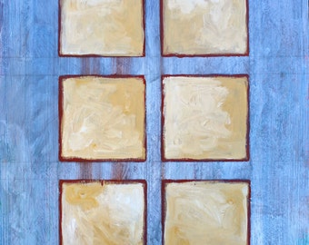 Geometric Abstract Painting with Six Squares