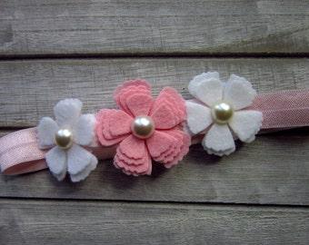 Flower headband, felt flower headband, photo prop headband, white pink headband, baby headband, girls headband, wool felt headbands