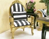 Striped Black White Gold Arm Chairs 1:12 Dollhouse Miniature Artisan