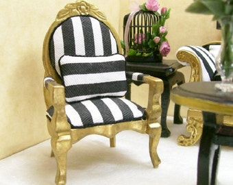 Arm Chairs Black White Gold Striped 1:12 Dollhouse Miniature Artisan