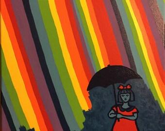 Rainbow Rain Acrylic Painting