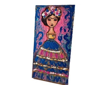 On Sale - Price already reduced - Blue Heart Frida - Original  Painting on Canvas Wood Panel by FLOR LARIOS (6 x 12 Inches)