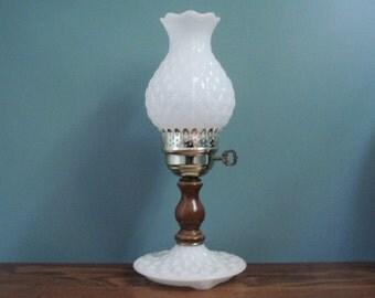 Vintage milk glass lamp with quilted effect