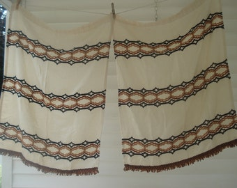 Vintage curtain panels - natural woven look