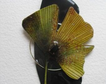Lg Signed Stephen Dalton Modernist Ginkgo Leaf Abstract Pin Pendant Vintage Stone