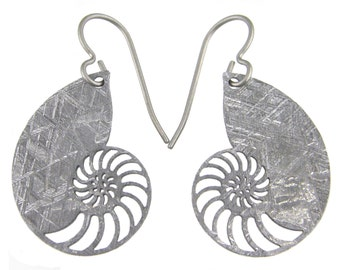 Nautilus Gibeon Meteorite Earrings