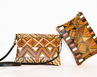 Viaje Convertible Leather Clutch - Unlined, Hand Painted Leather Clutch and Crossbody VOZ X YWH