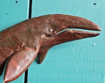 Gray Whale - copper metal marine mammal art sculpture - wall hanging - with red-brown and naturally-aged patinas - OOAK