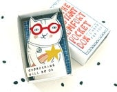 Cat with shooting star - The Instant Comfort Pocket Box - Everything will be ok! - cheer up and consolation box