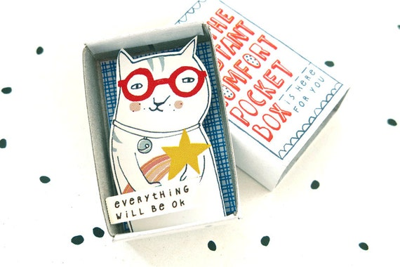 Cat with shooting star - The Instant Comfort Pocket Box - Everything will be ok! - cheer up and consolation box - sympathy gift