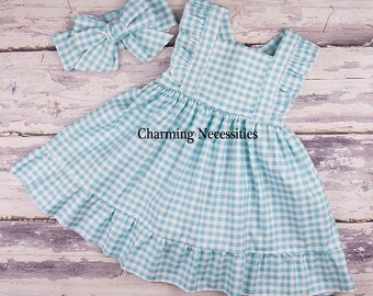 Flower Girl Dress, Toddler Girl Clothes, Girls Beach Dress, Toddler Dress, Heirloom Flutter Sleeve Dress, Aqua Gingham Charming Necessities