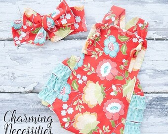 SALE Baby Girl Clothes, Fall Toddler Girl Clothes, Sunsuit Bubble Romper in Red Aqua Floral by Charming Necessities