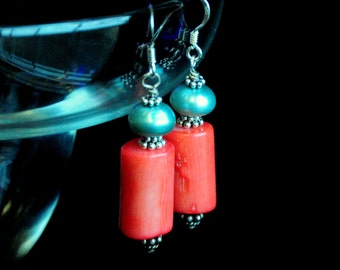 Natural Coral and Turquoise Freshwater Pearls sterling silver earrings nautical ocean theme