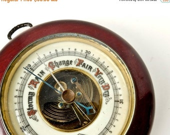 ON SALE Vintage Barometer, Wood Porcelain Brass Wall Hung