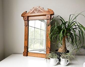 Victorian Oak Wall Hung Mirror