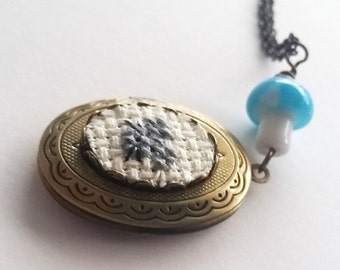 ON SALE Mouse Cross stitch Locket necklace- xstitch fiber art wearable art  crossstitch