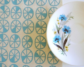 Spokes - screen printed fabric hand screen printed fabric for patchwork, sewing, embroidery, crafting & framing in pastel colours/colors