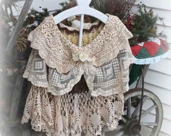 Crochet Cape, Three Layers, Victorian Inspired, Boho Chic Shawl, Wedding Shawl, Evening Cape, Shabby Style, Gypsy Soul