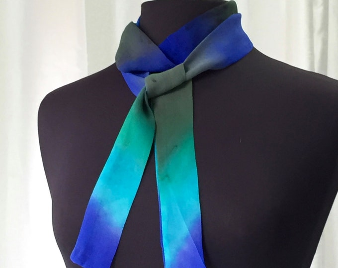 Hand Painted Silk Skinny Scarf - Ready to Ship