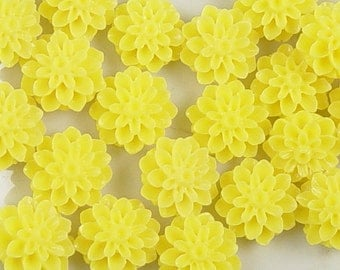 CLEARANCE Cabochon Flower 8 Opaque Resin Dahlia Flower Round Yellow 15mm (1011cab15m9-15)os