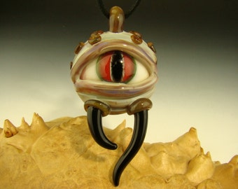 GLASS Horny Evil Eye Pendant Lampwork Borosilicate Creature Focal Bead or Oil Dabber by Kenny Talamas (made to order)